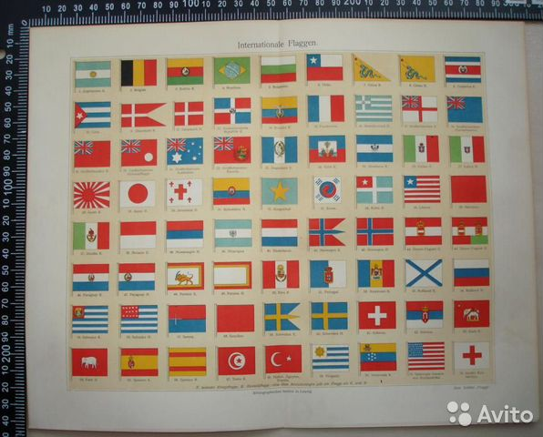 Флаги стран мира хромолитография
