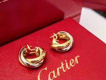 Cartier Trinity оригинальные золотые серьги