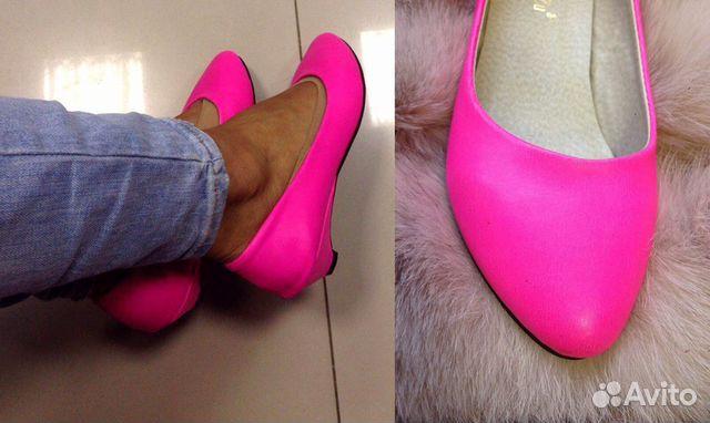 62c41992025b Новые 34 ярко розовые балетки тапочки на каблуке купить в Санкт ...