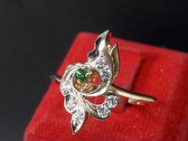 Золотое кольцо с фианитами 585 проба СССР