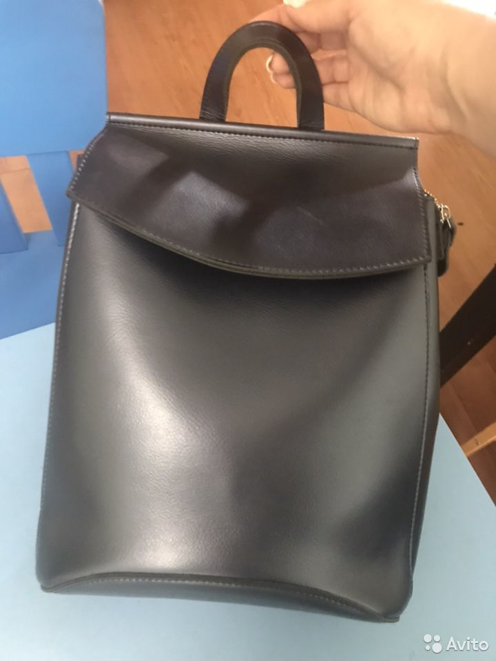 Рюкзак кожаный синий  89289050575 купить 1